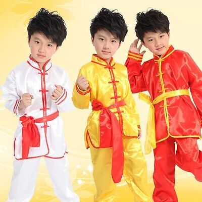 Boys Kung Fu Suit Kids Children Martial Arts Chinese Traditional Costume Uniform