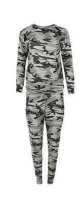 Kids Girls Children Camouflage Army 2 Pcs Tracksuit Lot Jogging Lounge Suit 5-13