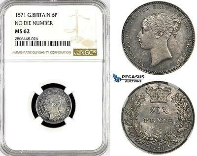 R781, Great Britain, Victoria, Sixpence (6P) 1871, London, Silver, NGC MS62