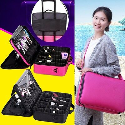 Professional Makeup Large Jewelry Toiletry Bag Travel Cosmetic Case Storage Box