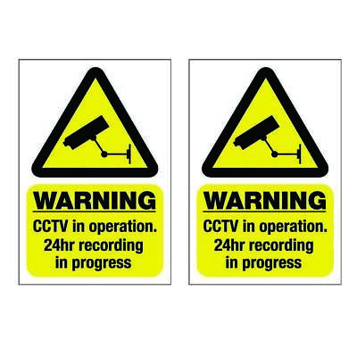 2 X CCTV in operation stickers sign - Self Adhesive or  Static Cling TOP QUALITY
