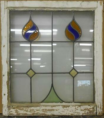"MID SIZED OLD ENGLISH LEADED STAINED GLASS WINDOW Abstract floral 22.25"" x 25"""