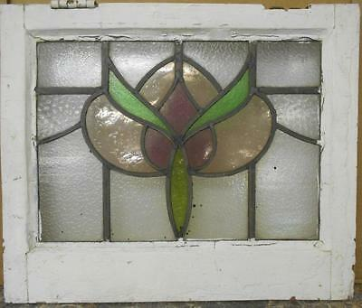 "OLD ENGLISH LEADED STAINED GLASS WINDOW Beautiful Floral Design 20.5"" x 17.25"""