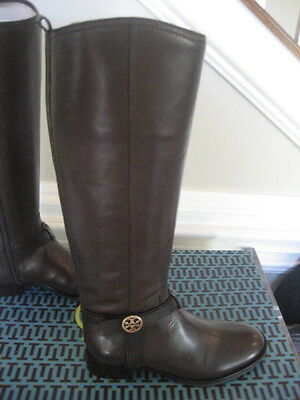 3a41f6410d1d16 NIB Tory Burch Bristol Brown Coconut Gold Leather Riding Boots Tall Size 10