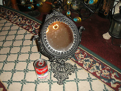 Vintage Victorian Style Cast Metal Personal Vanity Mirror-Intricate Details-LQQK