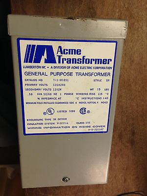 Acme Transformer T-1-81051 Primary 120/240, Sec 12/24Vac Transformer .50 kVA