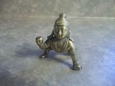 """Vintage Brass Indian Figure Paperweight 3"""" Tall Estate Find"""