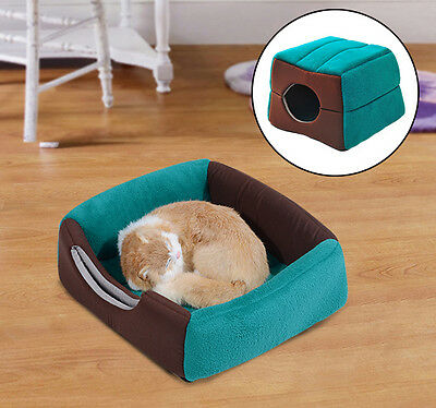 PawHut 2 in 1 Cat Pet Bed House Home Mat Warm Soft Cushion Kitten Couch Portable • EUR 14,21