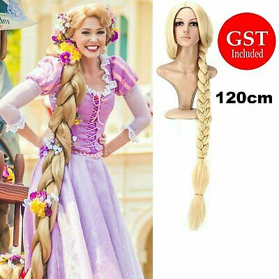 120cm Gold Hair Rapunze Wig Movie Tangled Princess Cosplay Long Blonde Braid