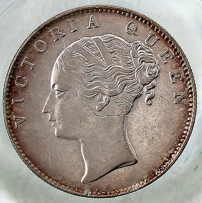 1840 British India Silver Rupee  Toned Queen Victoria aUNC Coin