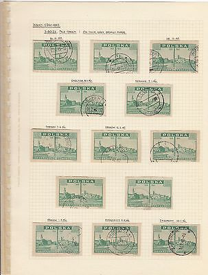 Stamps Poland 3.5zt blue View of Warsaw x 13 on album page postmarks & varieties