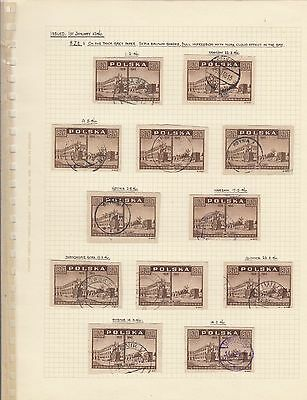 Stamps Poland 8zt brown View of Warsaw x 12 on album page postmarks & varieties