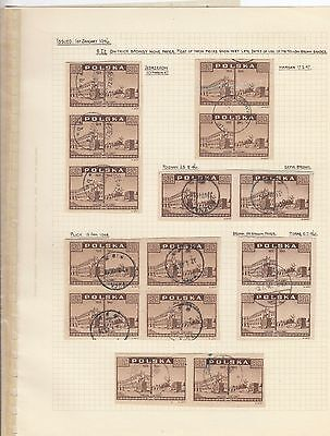 Stamps Poland 8zt brown View of Warsaw x 15 on album page postmarks & varieties