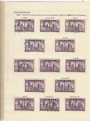 Stamps Poland 10zt purple View of Warsaw x 13 album page postmarks & varieties