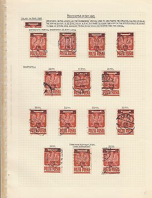 Stamps Poland 1.50 zloty on 5 old album page postmarks & varieties specialized