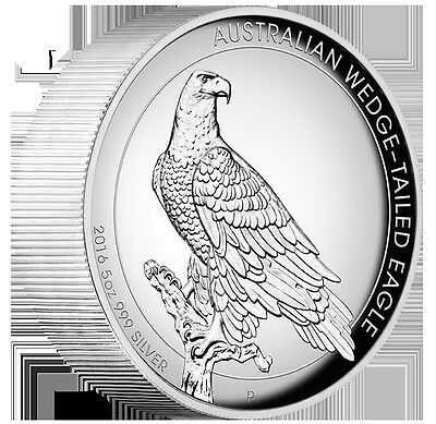2016 $8 Australian Wedge-Tailed Eagle 5oz Silver Proof High Relief Coin