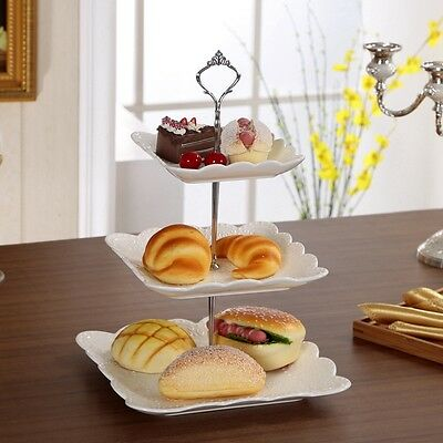 Kitchen Cupcake Fittings Cake Plate Stand 1Set Birthday Silver/Golden 2/3 Tier