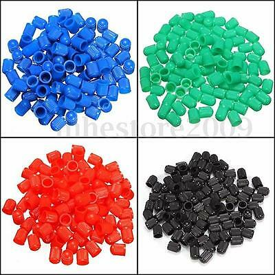 100Pcs Plastic Auto Car Motorcycle Bike Truck Wheel Tire Valve Stem Caps 5 Color