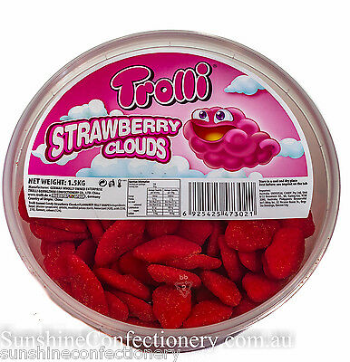 STRAWBERRY CLOUDS by Trolli (approx 1.5kg) Sweet & Sour Lollies, Candies