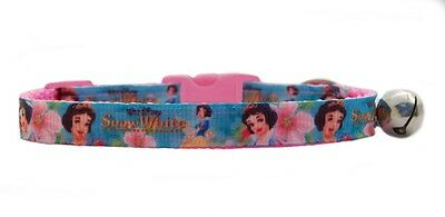 "Handmade Pink   Turquoise "" Snow White""   safety kitten cat collar 3 sizes"