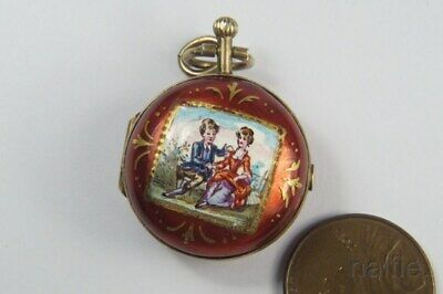 ANTIQUE SILVER GILT VIENNESE ENAMEL POCKET WATCH SHAPED VINAIGRETTE c1800's