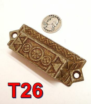 "Antique Eastlake Victorian Nickel/Cast Iron BIN PULL 4""cabinet drawer handle*T26"