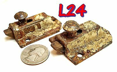 2Antique 1871 Cast Iron Cabinet Door SLIDE BOLT LATCHS Cupboard chippy paint*L24