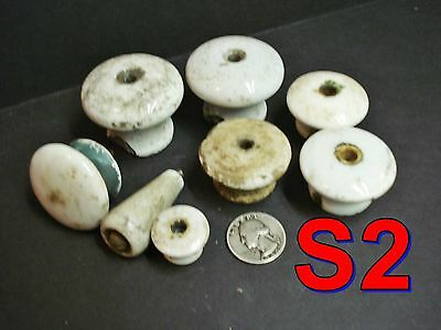 Dealer Lot of 8 Antq/Vtg White Porcelain KNOBS door drawer chippy paint craft*S2