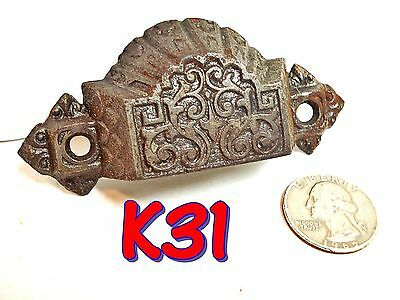 Small Antique Eastlake Victorian Cast Iron BIN PULL 1872 drawer handle*K31