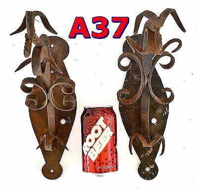 Pair non-matching Antique Wrought Iron Wall SCONCES *A37*