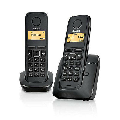 Gigaset A120 Twin DECT Cordless Portable Phone Set - Black New Uk