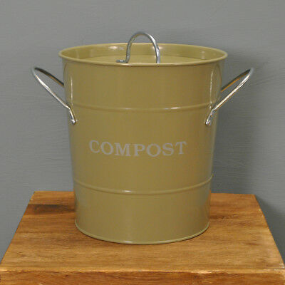 Enamel Metal Compost Kitchen Caddy in Gooseberry by Garden Trading