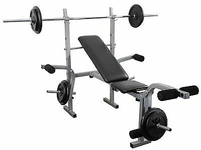 Weight training Bench + Barbell set 30kg Complete Multi gym set Home gym