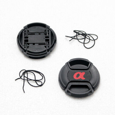 2X 49mm Front Lens Cap For Sony Others DSLR Lens With Cord Center-Pinch Snap-On