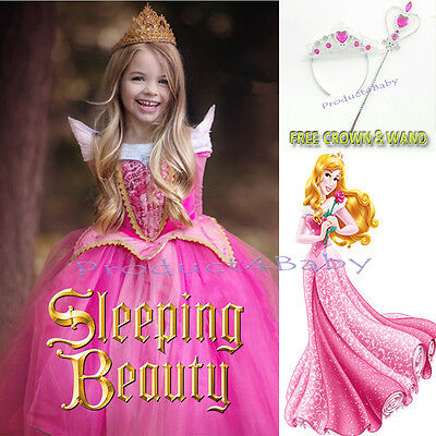 Girls Dress Princess Sleeping Beauty Aurora Costumes Tutu Ball Gown 3-10 Years