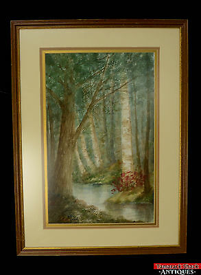 Original Watercolor Painting Artist Todd Framed Matted Soft Woodland Creek L1Z