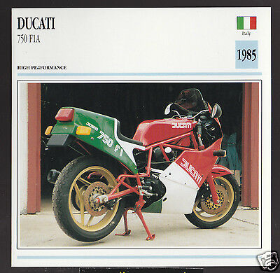 1985 Ducati 750cc F1A (748cc) Italy Race Motorcycle Photo Spec Sheet Info Card