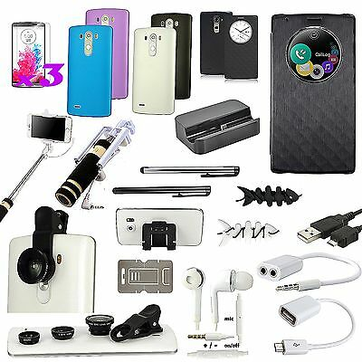 All x Accessory Bundle Leather Case Dock Charger Fish Eye  Monopod  For LG G3