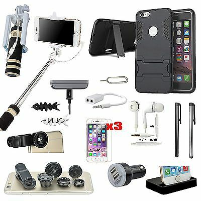 Black Kickstand Case Charger Monopod Fish Eye Accessory Kit For iPhone 5S 5SE