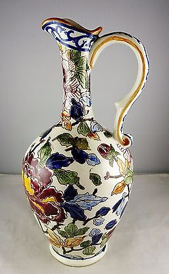 Gien China Pivoines Peonies Ewer or Pitcher - Maroon & Navy Floral