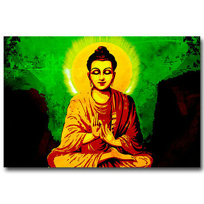Buddha Poster Psychedelic Trippy Art Silk Print 12x18 24x36inch Religion Picture