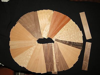 "150+ fingerboard size mixed wood veneer pcs. ( approx.8"" x 1 1/4"" each )"