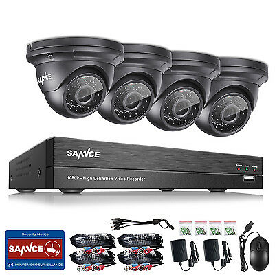 SANNCE 8CH AHD DVR 1080P Outdoor Indoor CCTV Security Camera Video System H.264