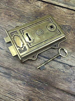 Davenport Solid Antique Brass Victorian Door Rim Lock & Keys (*Atc)