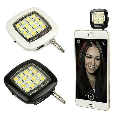 White Selfie Fill Light LED 3 Mode Flash Portable For iPhone Samsung HTC Android