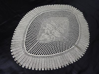 Gorgeous Vintage Handmade Cotton Crochet Ecru Floral Oval Tablecloth with Roses