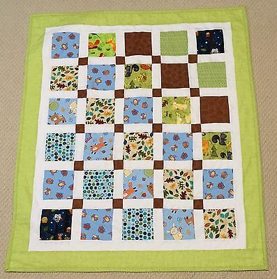 New Handcrafted Cotton Woodland Friends Charm Baby Quilt
