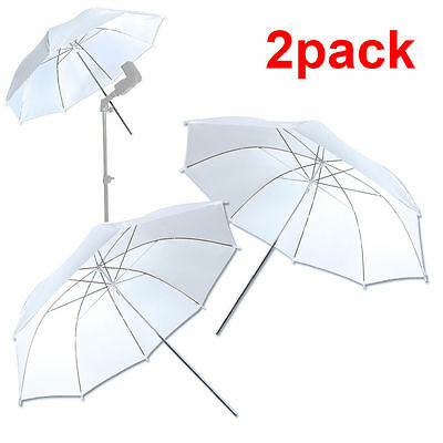 "New 2PCS 33"" 83cm Photo Studio Flash Diffuser Translucent White Soft Umbrella US"
