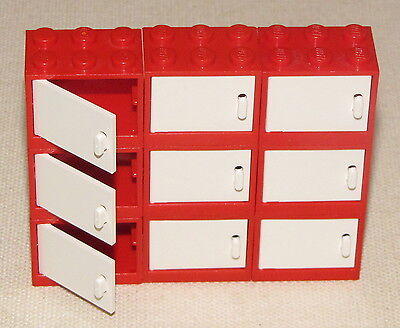 Lego Lot Of 9 Red Cupboard Container Drawers With White Doors Kitchen House