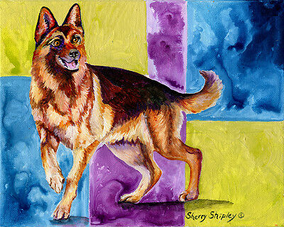 GERMAN SHEPHERD Too 8X10 DOG Print from Artist Sherry Shipley